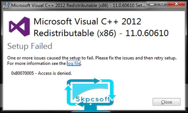 Microsoft Visual C++ 2012 redistributable Package x86/x64 full downlaod complete setup for windows 5kpcsoft